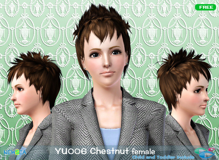 YU 006 Chestnut   long spiky haircut with layered bangs by NewSea for Sims 3