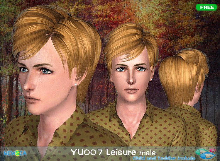 YU 007 Leisure  hairstyle with volume and the middle path by NewSea for Sims 3