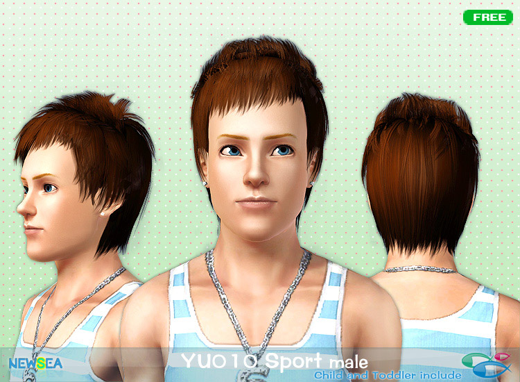YU 010 Sport   haircut with spiky bangs and fringes by NewSea for Sims 3