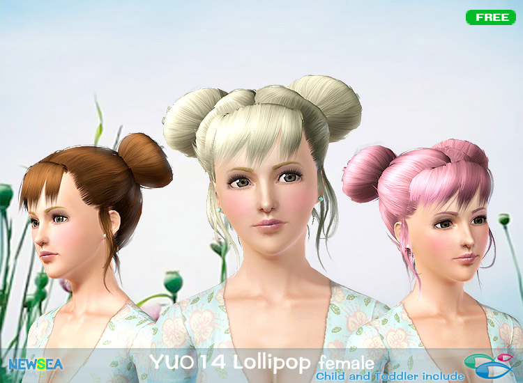 YU 014 Lollipop   double topknot with layered bangs by NewSea for Sims 3