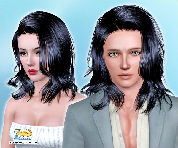 Large waves parted to one side hairstyle ID 704 by Peggy Zone for Sims 3