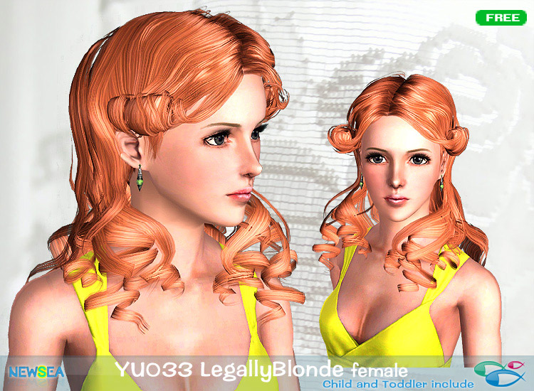 YU 033 Legally Blonde   large curls by NewSea for Sims 3