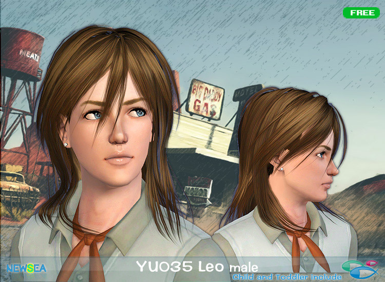 YU 035 Leo shaggy hairstyle by NewSea for Sims 3