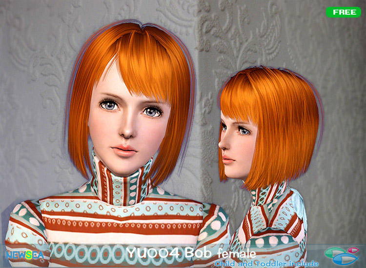 YU 004 Bob   straight haircut with bangs by NewSea for Sims 3