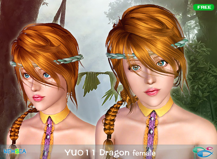 YU 011 Dragon braid haircute by Newsea for Sims 3