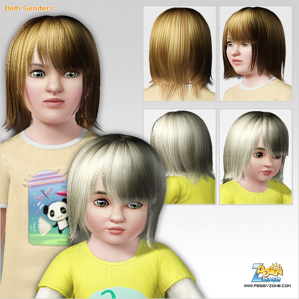 Glossy bangs hairstyle ID 313 by Peggy Zone for Sims 3