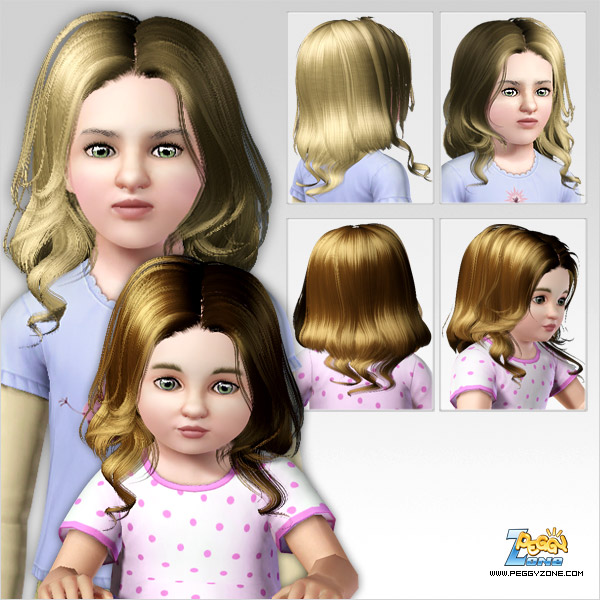 Glossy waves hairstyle ID 317 by Peggy Zone for Sims 3