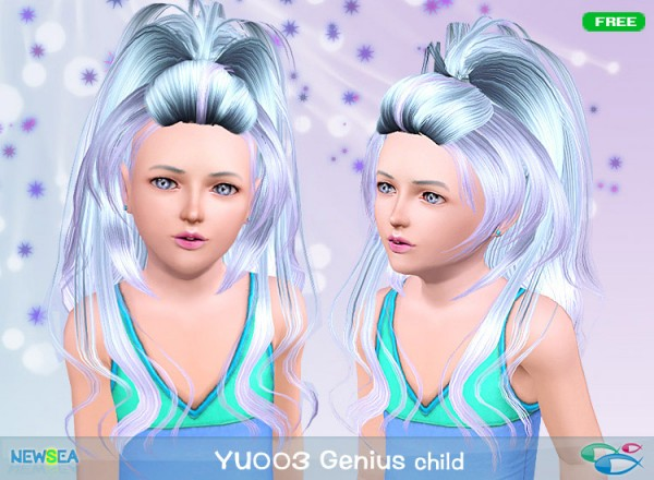 YU 003 Genius   half up, half down hairstyle by NewSea for Sims 3