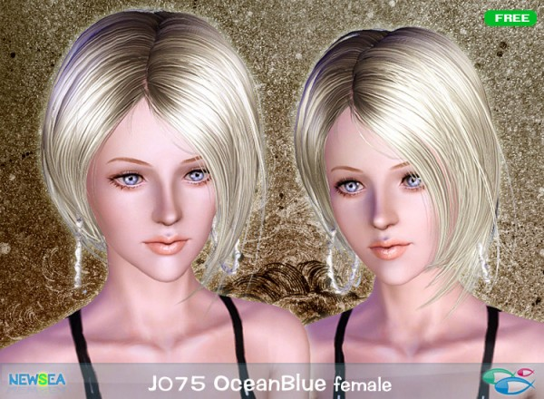 JO 75 Ocean Blue   Asymmetrical bob with bangs by NewSea for Sims 3