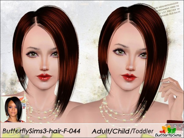 Asymmetrical bob hairstyle  hair 44 by Butterfly for Sims 3