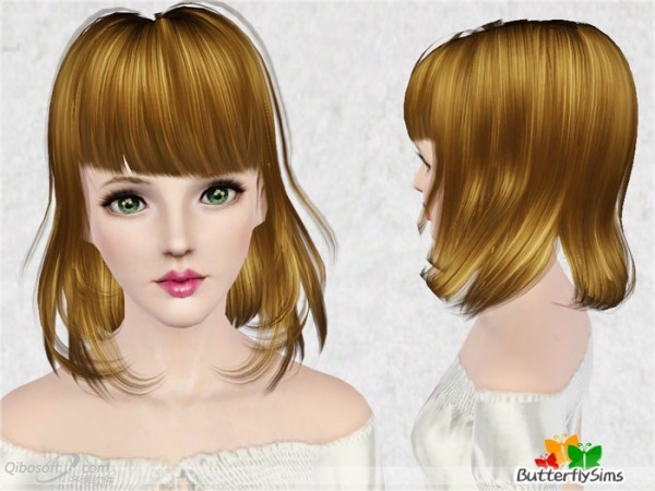 Messy bob with bangs   Hair 003 by Butterfly for Sims 3