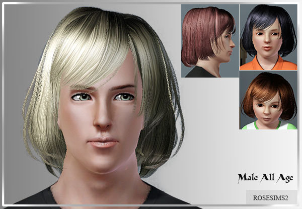Rumpled bob with bangs by Rose Sims for Sims 3