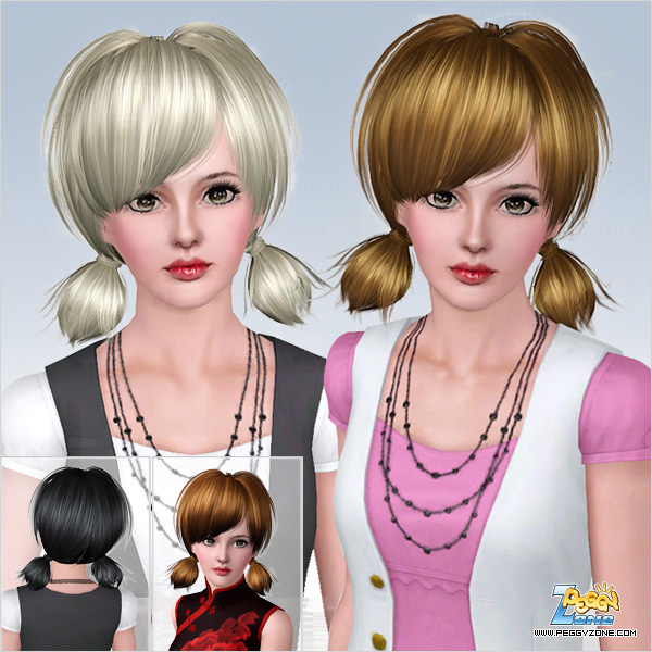 Tousled tails hairstyle ID 532 by Peggy Zone for Sims 3