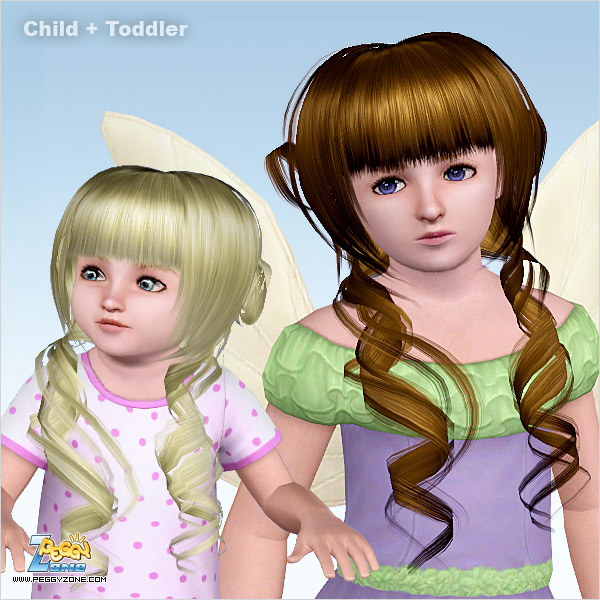 Straight and curly hairstyle ID 565 by Peggy Zone  for Sims 3
