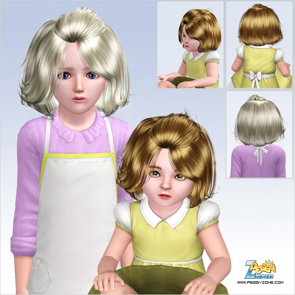 Rolled bangs bob hairstyle ID 658 by Peggy Zone for Sims 3