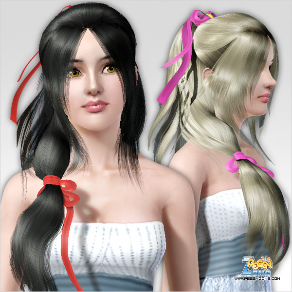 Double ponytails with ribbon bow hairstyle ID 617 by Peggy Zone for Sims 3