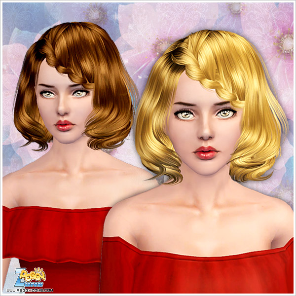 Wavy bob with braided side bangs for Sims 3