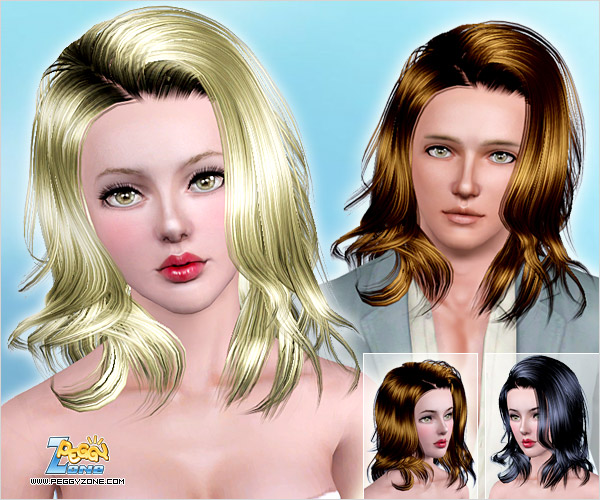 Warm complementary shades hairstyle ID 704 by Peggy Zone for Sims 3