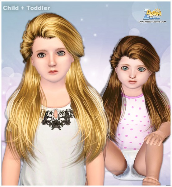 Half Updo hairstyle ID 000071 by Peggy Zone for Sims 3