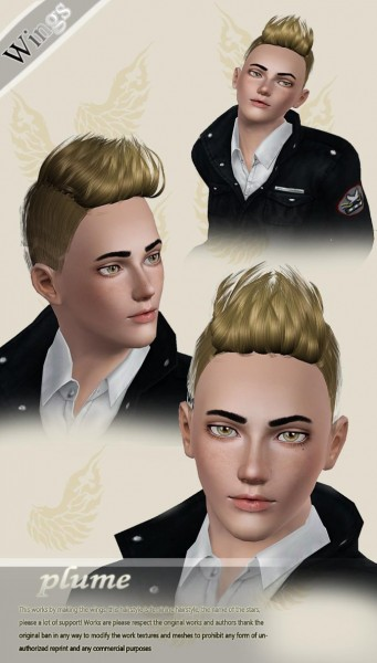 Cool hair for boys   Plume by Wings for Sims 3