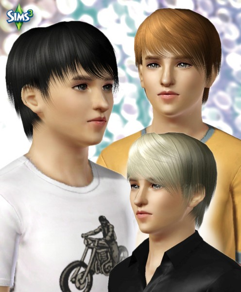 Jagged edges hairstyle for boys  Conversion hair 39 by Raonjena for Sims 3