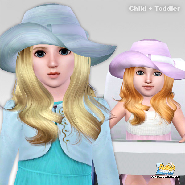 Long hairstyle with fancy hat ID 405 by Peggy Zone for Sims 3