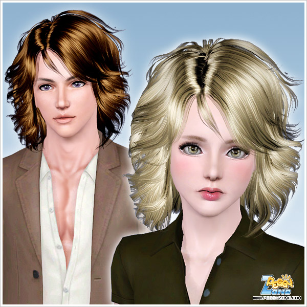 Medium hair length in curls ID 757 by Peggy Zone for Sims 3