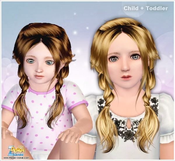 Two rumpled braid ID 000073 by Peggy Zone for Sims 3