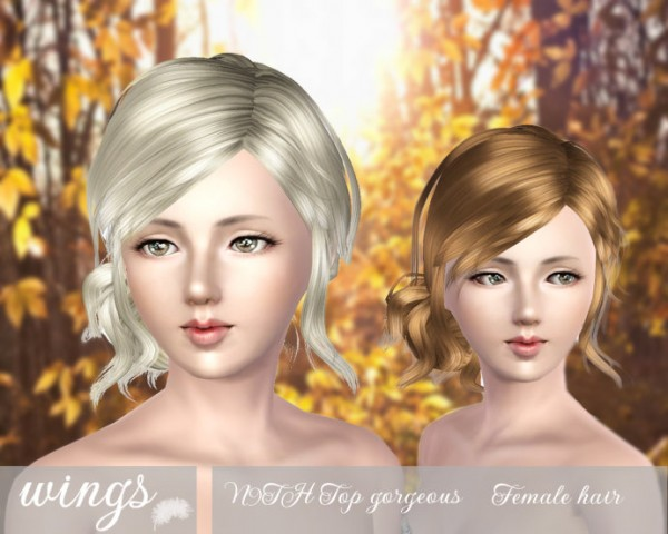 Tousled side bun   N9TH Top gorgeous by Wings for Sims 3