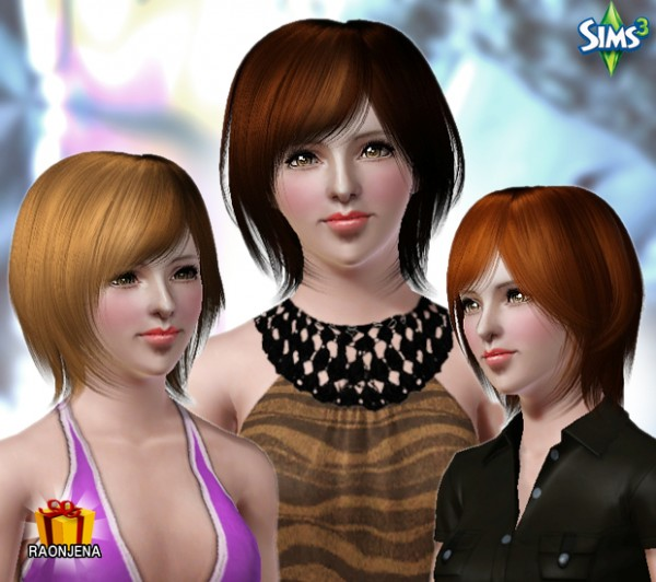 Modern fringed bob hairstyle   Conversion hair 79 by Raonjena for Sims 3