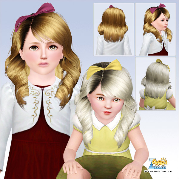 Rolled  fringes with ribbon hairstyle ID 751 by Peggy Zone for Sims 3