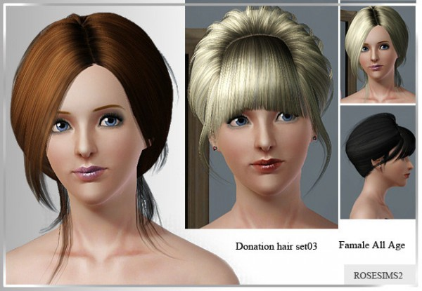 Two hairstyles by Rose  for Sims 3