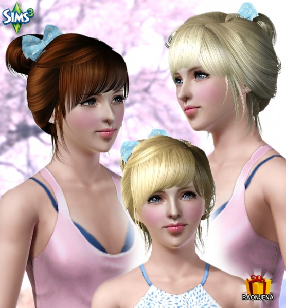 Pigtail with bow and bangs hairstyle   Conversion Hair 72 by Raonjena for Sims 3