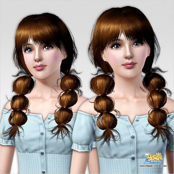 Double wrap ponytail hairstyle ID 146 by Peggy Zone for Sims 3
