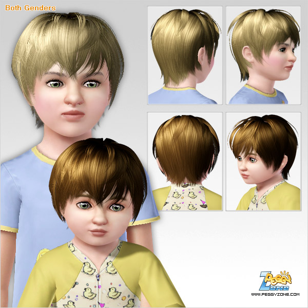 Tom boy haircut ID 000009 by Peggy Zone for Sims 3