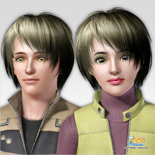 Edgy hairstyle ID 121 by Peggy Zone for Sims 3
