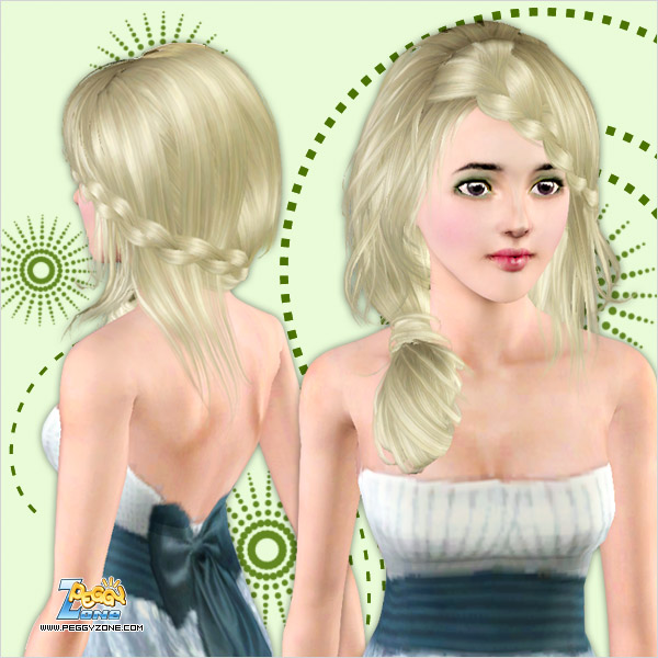 Wraped side ponytail with braided bangs ID 000011 by Peggy Zone for Sims 3