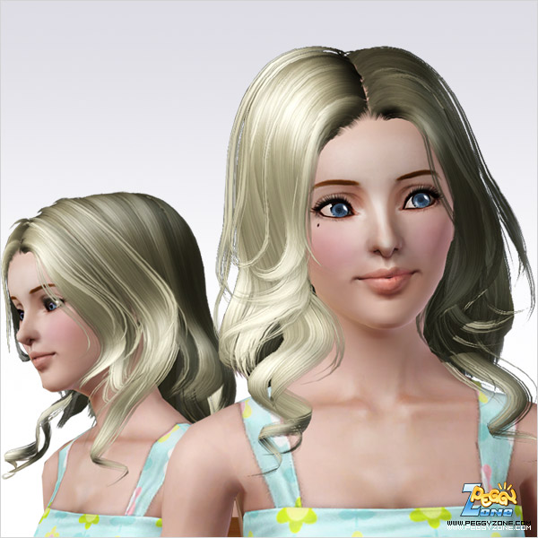 Long and curly waves hairstyle ID 122 by Peggy Zone for Sims 3
