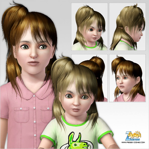 Mini ponytail in a one side of a head ID 328 by Peggy Zone for Sims 3