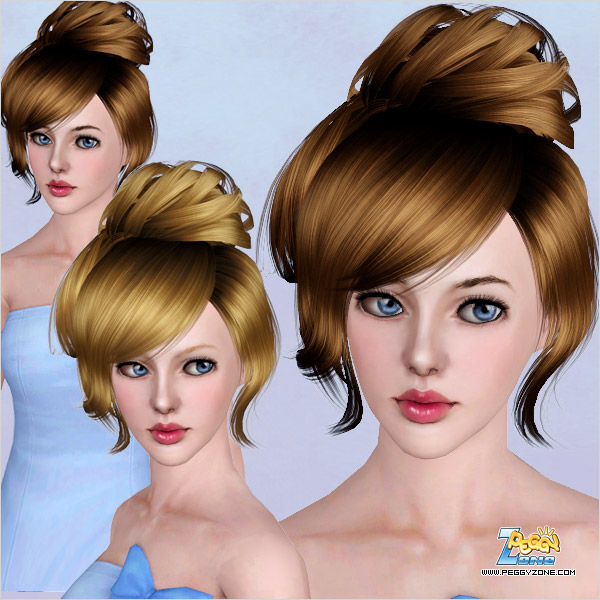 Fancy top knot ID 453 by Peggy Zone for Sims 3