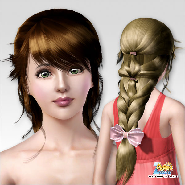 Triple fishtail witn bow hairstyle ID 102 by Peggy Zone  for Sims 3