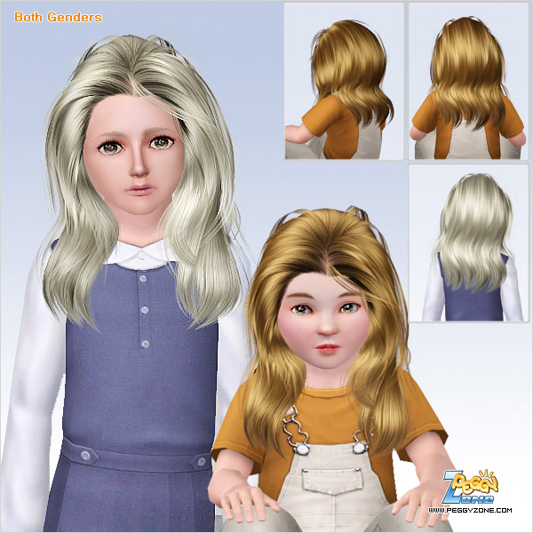 Long teased hairstyle ID 626 by Peggy Zone for Sims 3