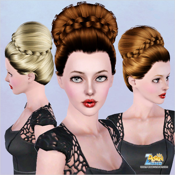 Cute braided topknot ID 455 by Peggy Zone for Sims 3