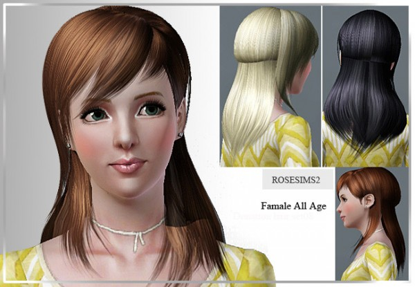 Hairstyles with side fringe and layers D 10 by Rose for Sims 3