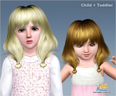 Double ponytails with the ends twisted ID 476 by Peggy Zone for Sims 3