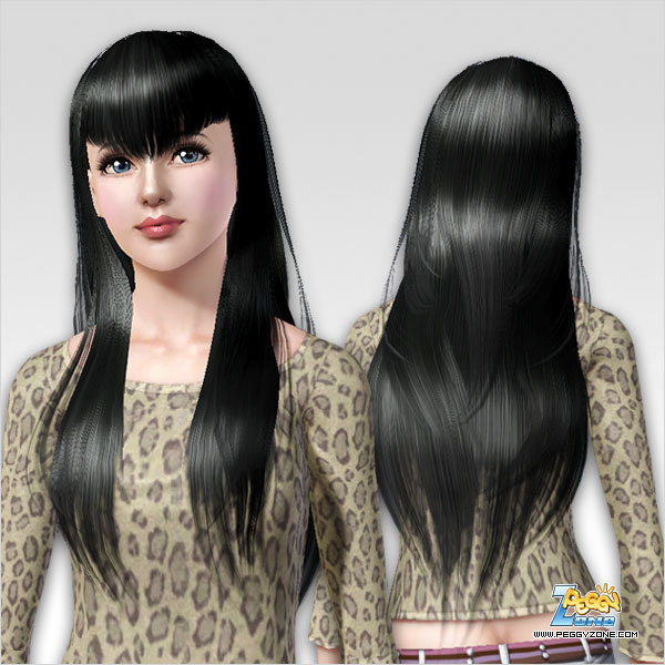 Hairstyle with bangs in the V shape ID 150 by Peggy Zone for Sims 3