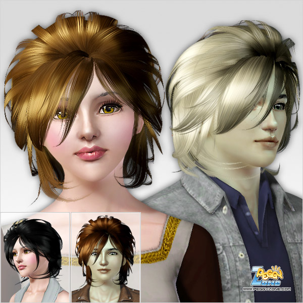 Lion bob hairstyle ID 106 by Peggy Zone for Sims 3
