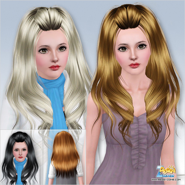Long hairstyle with rolled bangs ID 594 by Peggy Zone for Sims 3