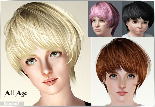 Cropped hairstyle D 16 by Rose for Sims 3