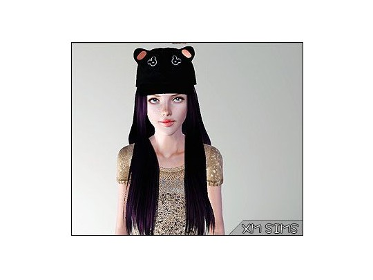 Hair with bear cap by XM Sims for Sims 3